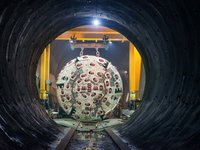 Tunnel boring machine (TBM) at the Brenner Base Tunnel in the Austrian Alps.